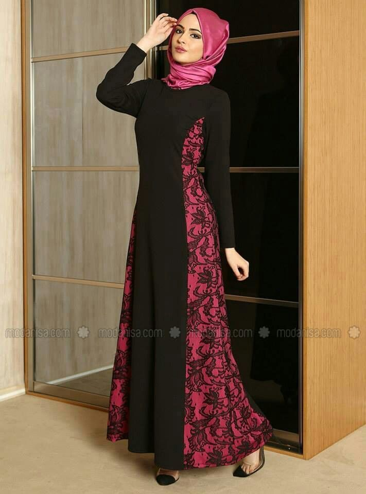 Black abaya with magenta