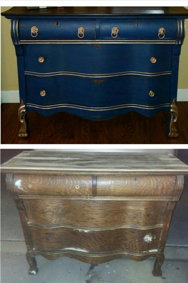 Antique Dresser Curved Front Before After In 2019