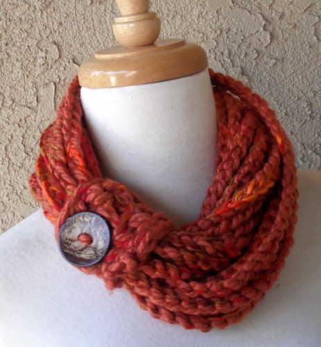 Autumn Harvest Circular Crocheted Scarf, Handmade, Multicolored with Button Tube
