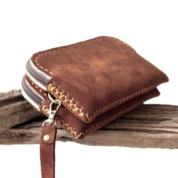 Gadget Suede Leather Zipper Wristlet Pouch in by TheLeatherTH