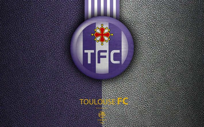 Download wallpapers Toulouse FC, FC, 4K, French football club, Ligue 1, leather texture, logo, emblem, Toulouse, France, football
