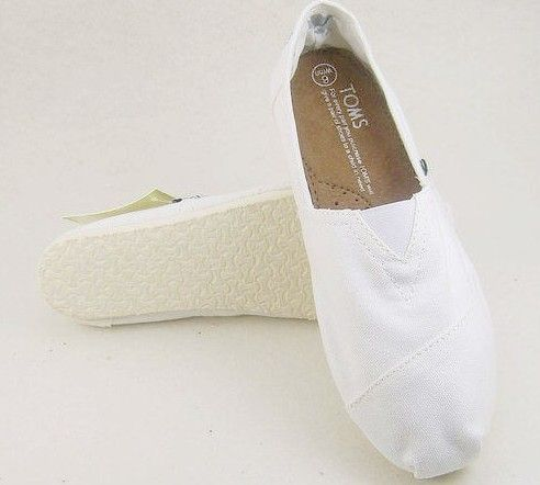 Cheap Toms Pure classic men shoes White