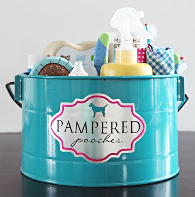 """dog grooming caddy - mine's not as """"pretty"""" but I got a dollar store handled basket and put all grooming supplies in it.  So much easier and convenient to grab from the basement to take to the tub!  #dogs #gifts #giftideas"""