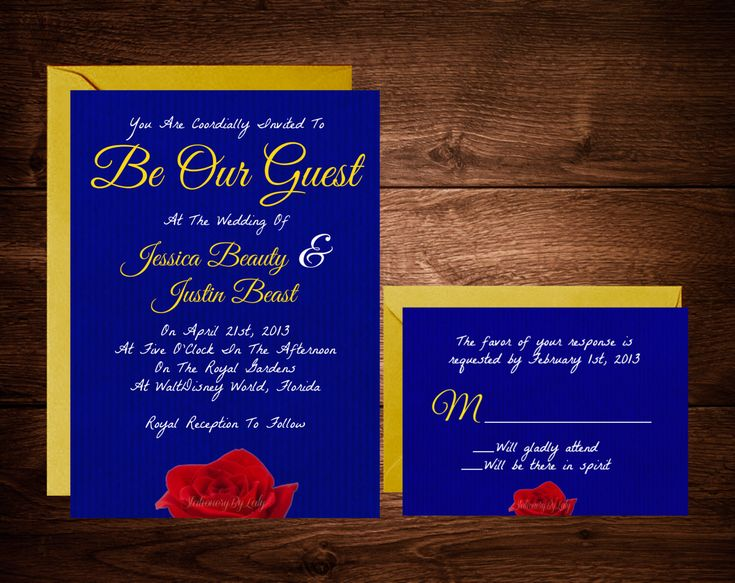 Beauty and The Beast Wedding Invitations, Fairytale Wedding Invitations, Disney Wedding Invitations, Belle Wedding Invite, Disney Theme by StationeryByLaly on Etsy https://www.etsy.com/listing/221446107/beauty-and-the-beast-wedding-invitations