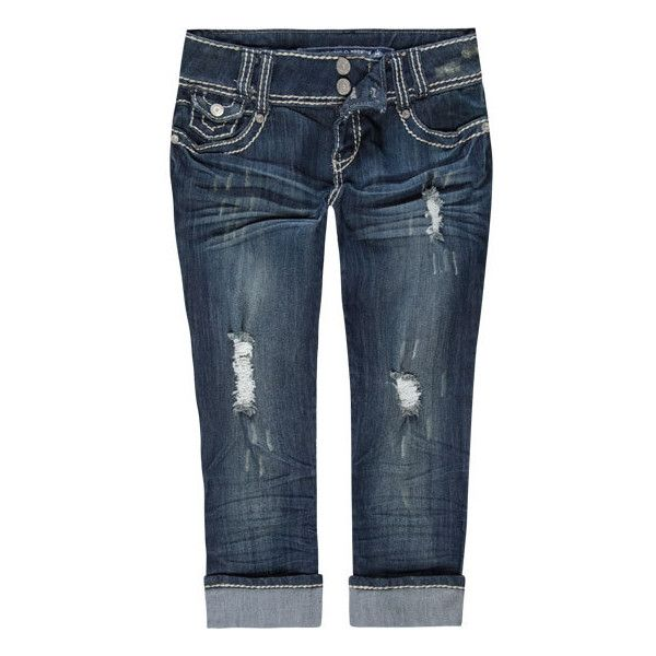 ALMOST FAMOUS 2 Button Womens Crop Jeans ❤ liked on Polyvore