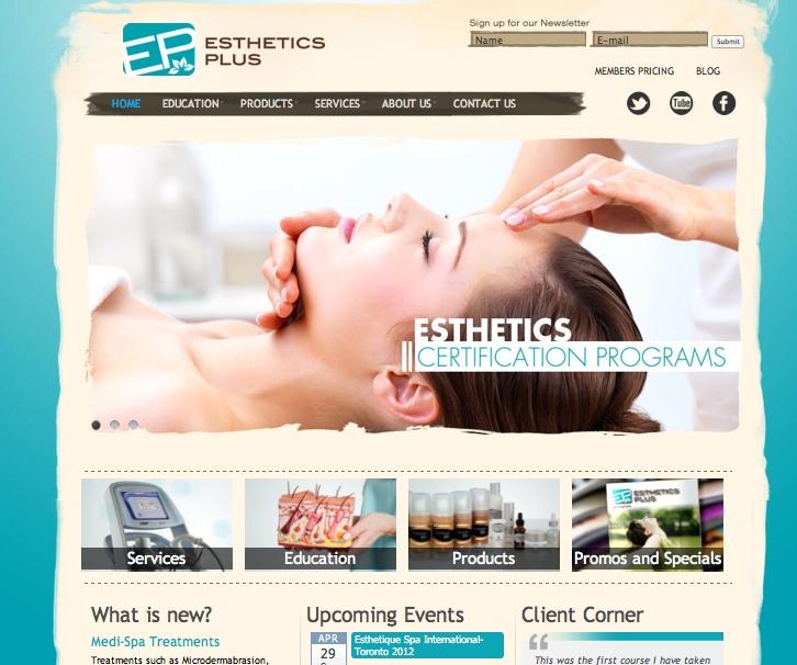 Web Design for an esthetics supplier and education
