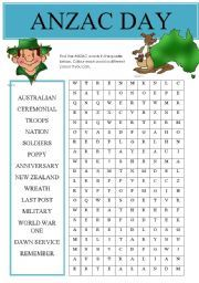 English teaching worksheets: Anzac Day