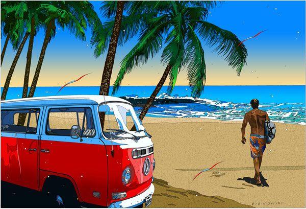 Eizin Suzuki ~ Surf Art surfer w/ red VW camper