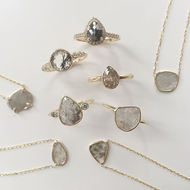Vale Jewelry Diamond Slice Rings and Necklaces