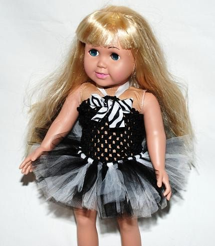 "2-Piece Zebra Tutu Outfit for 18"" Dolls - Fits American Girl Dolls. $10.00, via Etsy."