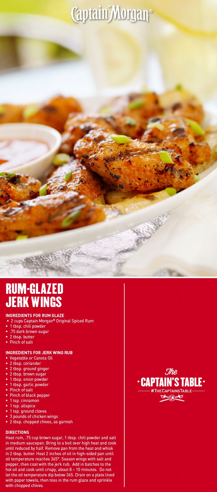 Rum-Glazed Jerk Wings: Tender chicken luxuriating in a Caribbean spiced glaze.  Treat everyone to a tropical getaway with this recipe! #Captain #Morgan #CaptainsTable #appetizer