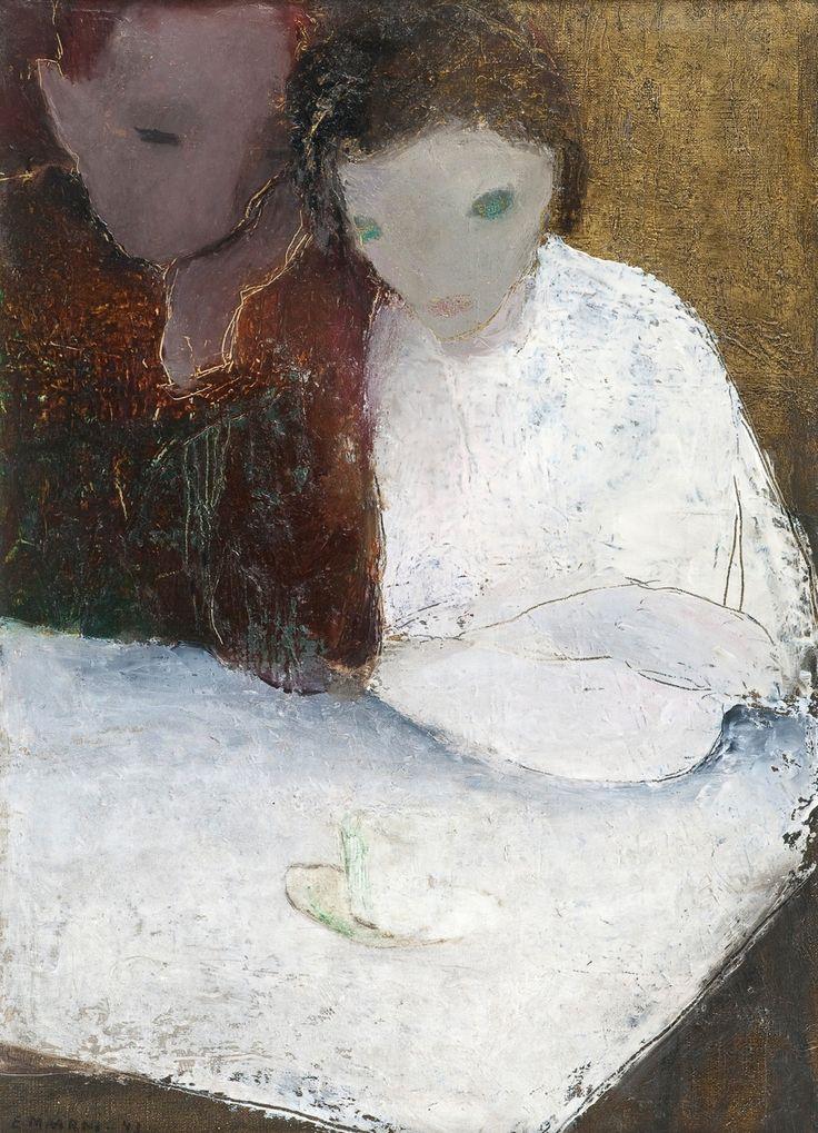 Elvi Maarni (Finnish, 1907-2006), A MOMENT FOR COFFEE, 1943. Oil on canvas, 56x41 cm