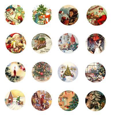 Vintage Christmas Free Bottle Cap Images by Folie du Jour. Love to make simple project life cards with these!