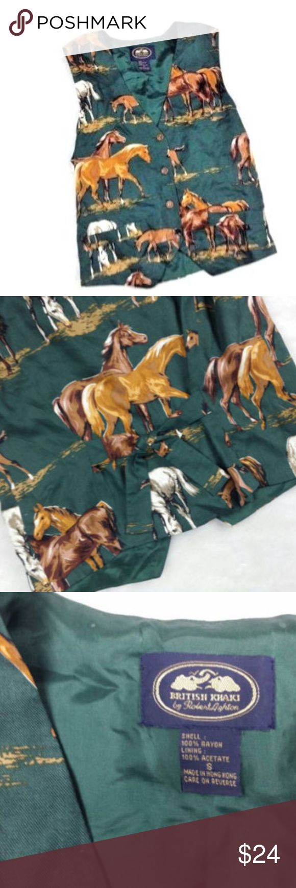 British Khaki By robert lighton Horse Print Vest S House Print Vest Western Stallions pony Green S British Khaki By robert lighton   British Khaki By robert lighton   House Print Vest Western Stallions pony's Hunter green background Unique tie back   Size Small S SM Women's  Very Cute and well made  Hunter Green background with brown houses  perfect for western theme party or a house lover!  Great for an aggie or 4H member  The back has a tie and there are buttons down the front  This is a…