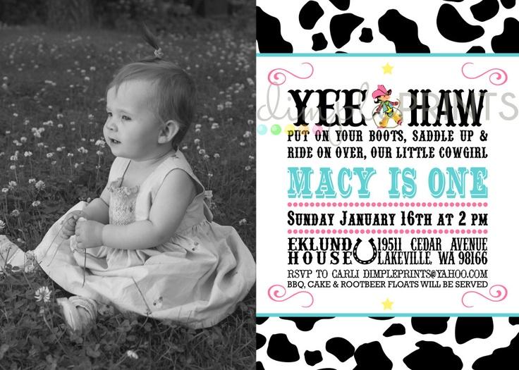 Cowgirl Vintage Invite Printable Digital Photo Birthday Invitation by DimplePrints. $13.00, via Etsy.