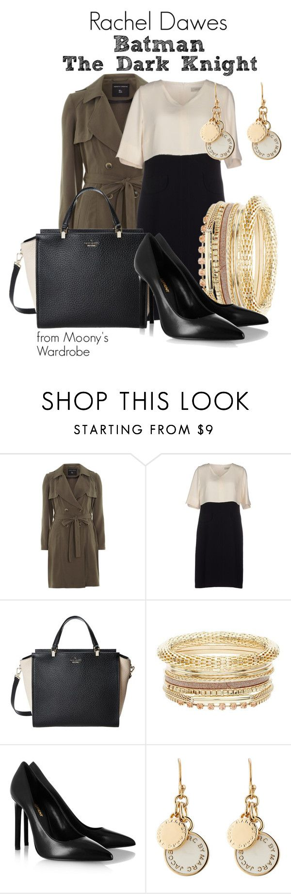 """""""Rachel Dawes"""" by evalupin ❤ liked on Polyvore featuring Dorothy Perkins, Gérard Darel, Kate Spade, Yves Saint Laurent, Marc by Marc Jacobs, batman, TheDarkKnight and RachelDawes"""