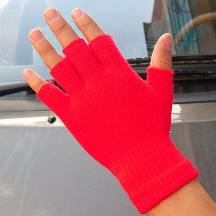 Men Black Knitted Stretch Half Finger Fingerless Gloves for Winter Women Soft Warm Elastic Mittens Accessories Drop Ship
