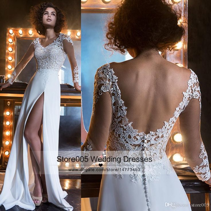 Sexy White Summer Beach Boho Wedding Dress Long Sleeve Lace Cheap Backless Bridal Gowns Split Chiffon Floor Length Z474 Weeding Dresses Affordable Dresses From Store005, $150.76| Dhgate.Com