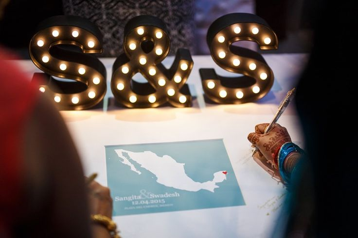 guest book sign in with a map | Beach Indian Wedding | Playa Weddings Mexico