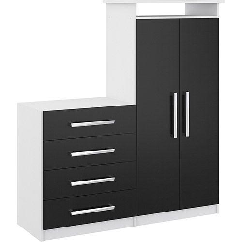 Sapateira Multiuso 2 portas e 4 gavetas Branco/Preto - Rodial