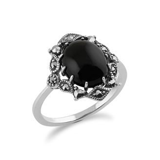 Picture of 925 Sterling Silver Art Nouveau Onyx & Marcasite Ring