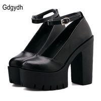 Gdgydh Handmade 2017 Senhoras Nova Primavera Outono Calçados Casuais Saltos Grossos Bombas da Plataforma Das Mulheres Sapatos De Salto Alto Preto Branco