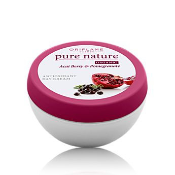 Oriflame Pure Nature Organic Acai & Pomegranate Antioxidant Day Cream (21557) - Nourishing day cream containing botanical Açai berry and Pomegranate extracts that are rich in antioxidants and help protect the skin against premature ageing. Leaving your skin beautifully soft and smooth. 75 ml.