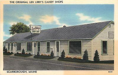 Scarborough Maine~Original Len Libbys Candy Shops~1940s Postcard Roadside