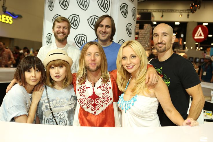 What an animated group! Clockwise from top left: TEEN TITANS GO! producers Aaron Horvath and Michael Jelenic, voice stars Scott Menville, Tara Strong and Greg Cipes, and special guests Puffy AmiYumi at the Warner Bros. booth at Comic-Con 2014. #WBSDCC