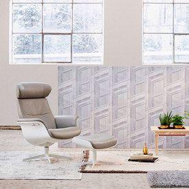 Conform Timeout Relaxsessel Und Hocker, X Fuß Aluminium Weiß, In Leder,  Sitzschale