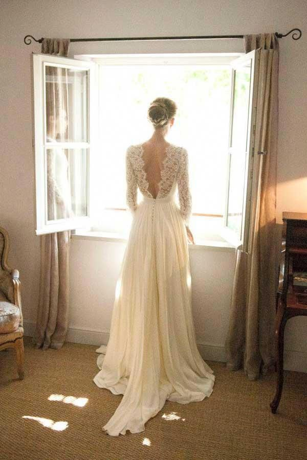 A167 A-Line V-Neck, Ärmar, Backless Chiffon Bröllopsklänning, V-hals Beach Dress