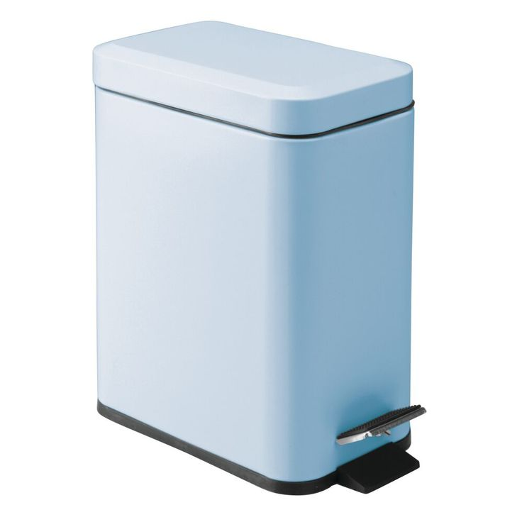 Mdesign 5 Liter Rectangular Small Steel Step Trash Can Wastebasket Garbage Container Bin Bathroom Powder Room Bedro Trash Can Garbage Bin Garbage Containers