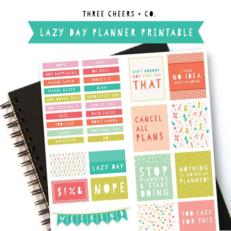 Download these free printable lazy day planner stickers, perfect for Life Planners