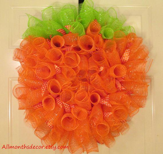 Pumpkin Ribbon Spiral Deco Mesh Wreath, Fall Mesh Wreath, Halloween Wreath, Fall Door Decor, Teacher Classroom Decoration, Back To School on Etsy, $38.00