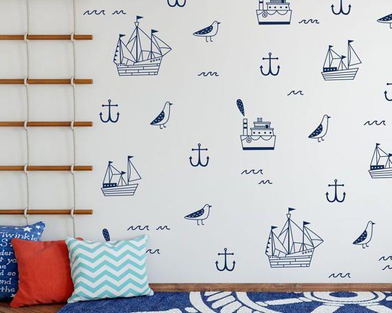 Nautical Wall Decals  Nautical Decals Ship by KennaSatoDesigns