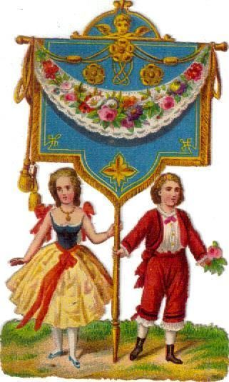 Victorian Scrap Couple Carries Banner  Die Cut c1880