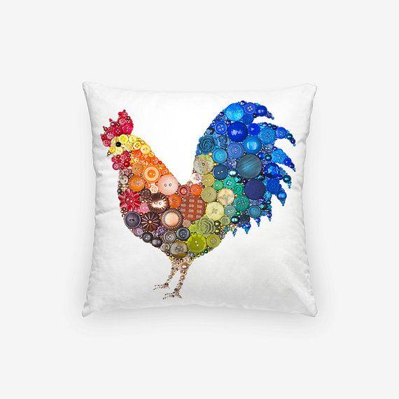Rooster cuscino Decor di caso  piccolo di PaintedWithButtons