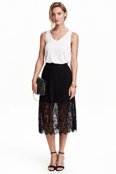 Plisowana spódnica z koronki | H&M