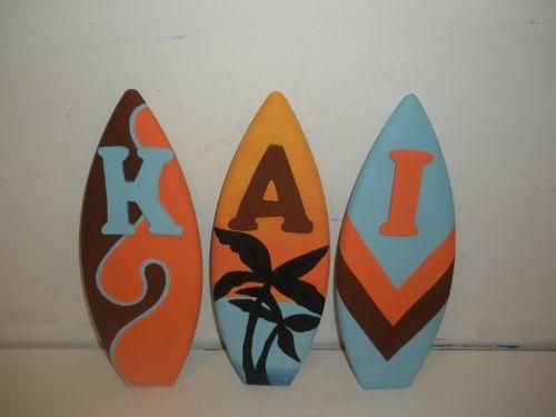 surfboard nurseries | new MINI 1FT SURF SURFBOARD NURSERY WALL WOOD LETTERS ...