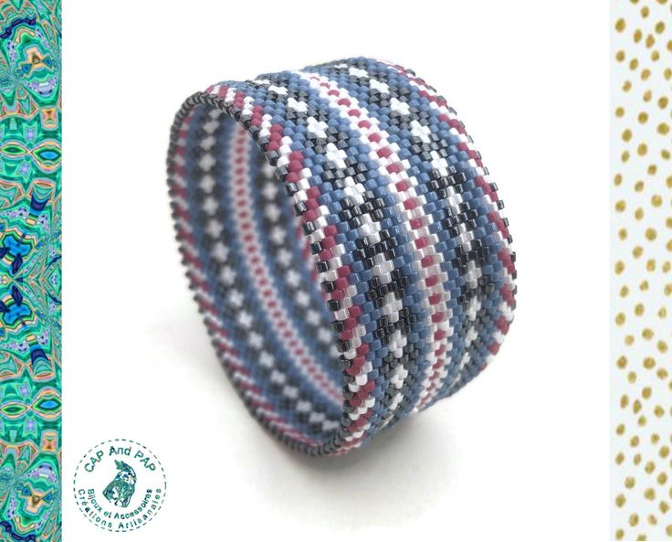 Large hand woven Bangle Bracelet, ethnic, graphic cuff, blue and pink Bangle, woven beads, birthday gift for women