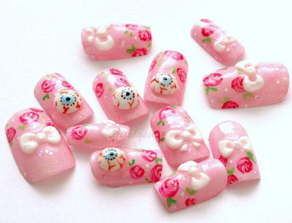 3D nails Japanese nail art eyeballs bows creepy pastel by Aya1gou, $21.00