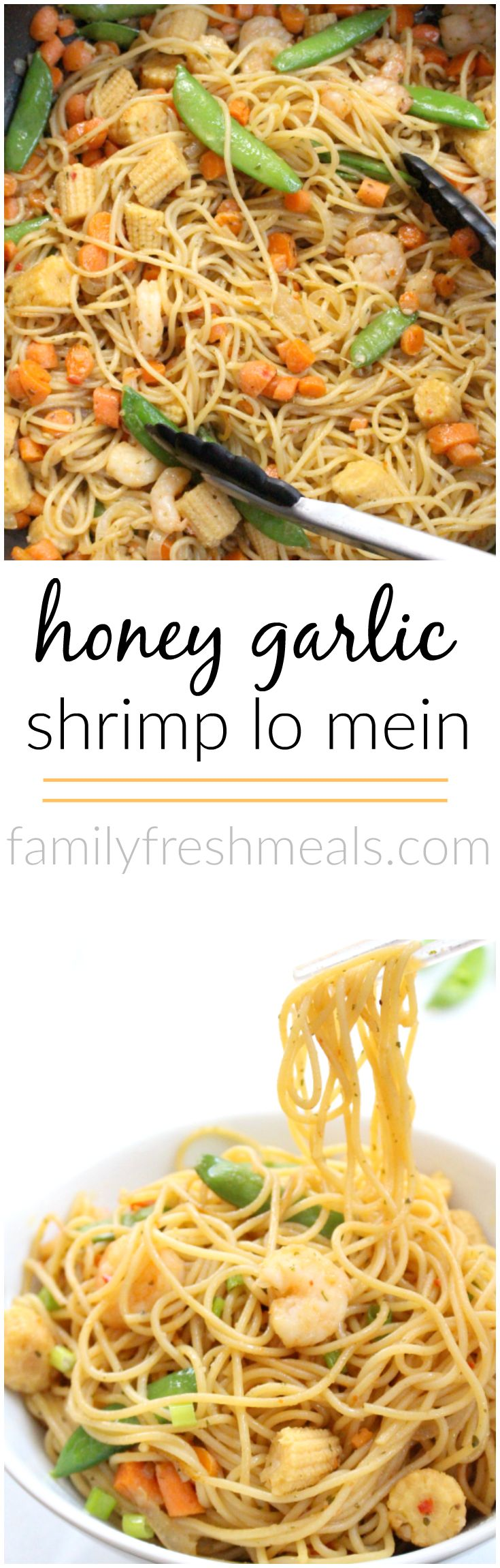 This Honey Garlic Shrimp Lo Mein is so easy to make! It's full of veggies and shrimp. Takes only minutes to make and will be an instant family favorite! #familyfreshmeals #Shrimptacular