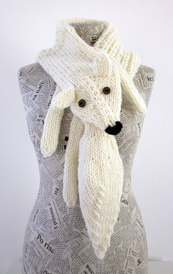 Hand knit fox scarf in white with polymer clay buttons by AmeBa77, $68,00