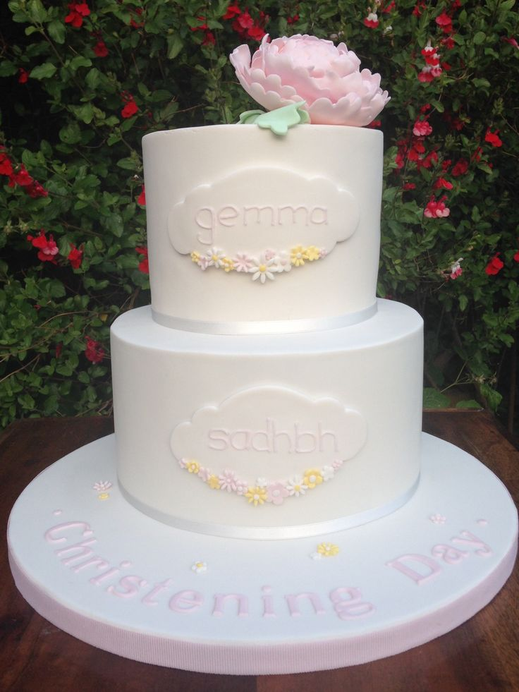 Christening cake for my third daughter, Sadhbh, and my niece, Gemma. Chocolate biscuit cake on bottom & lemon sponge on top. Delicious!!