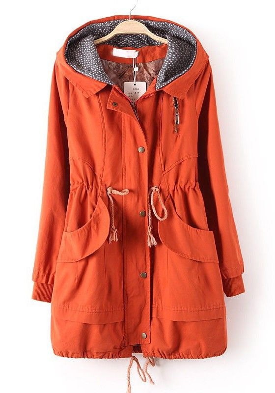 / Orange Zipper Drawstring Pockets Cotton Blend Trench Coat
