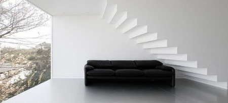 Floating white staircase