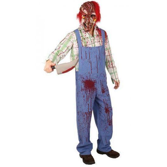 Bloederig zombie kostuum. Een griezelig bebloed kostuum van een clown zombie. Dit Halloween kostuum bestaat de blouse en broek.
