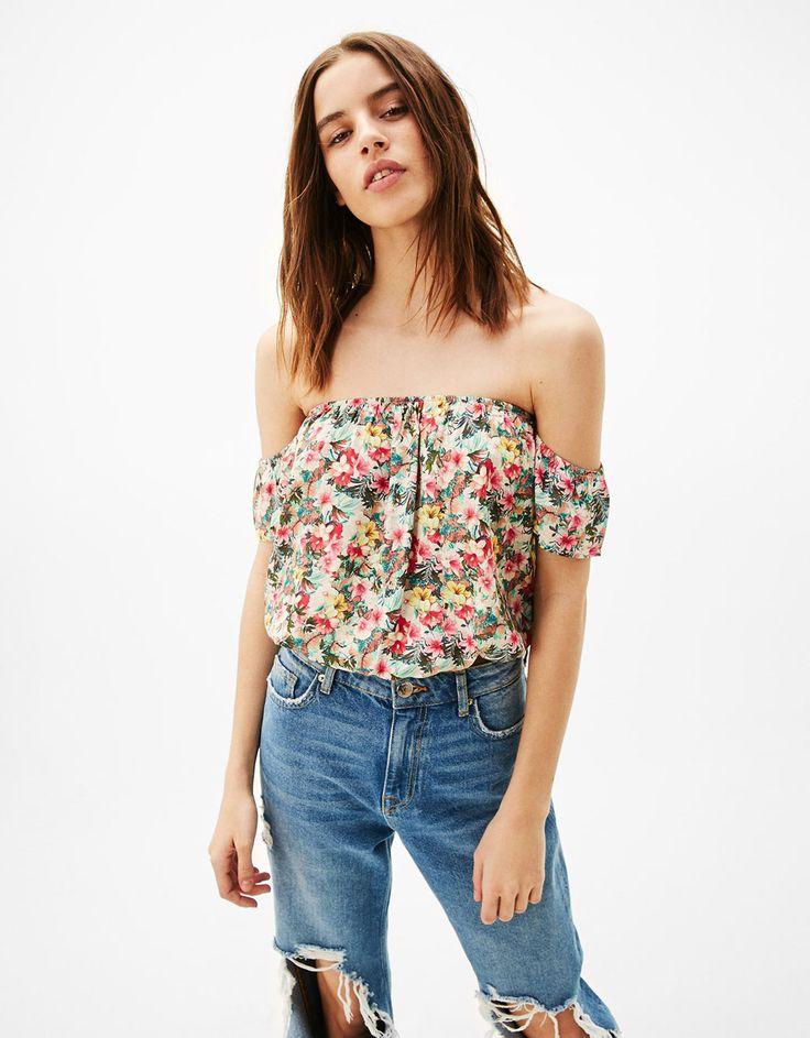 T-shirt épaules dénudées élastique bas - -30% sur une sélection d'
