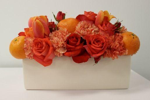 Orange Centerpieces, White Vases, Orange Carnations, Orange Roeses, Coral Roses, Posh Floral Designs, Modern Centerpieces, Orange Roses, Orange Carnations, Orange Tulips