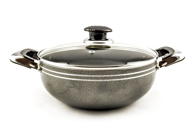 Buy Grey Non-Stick Wok With Glass Lid – 32 cm - Non-Stick Cookware and more Homeware, Kitchenware and Cookware products at Popat Stores. #FryPan #NonstickFryPan #Cooking #Cookware #Homeware #Kitchenware